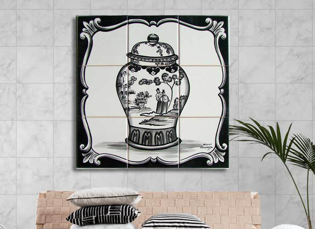 Chinese Design Black n White Tile Set