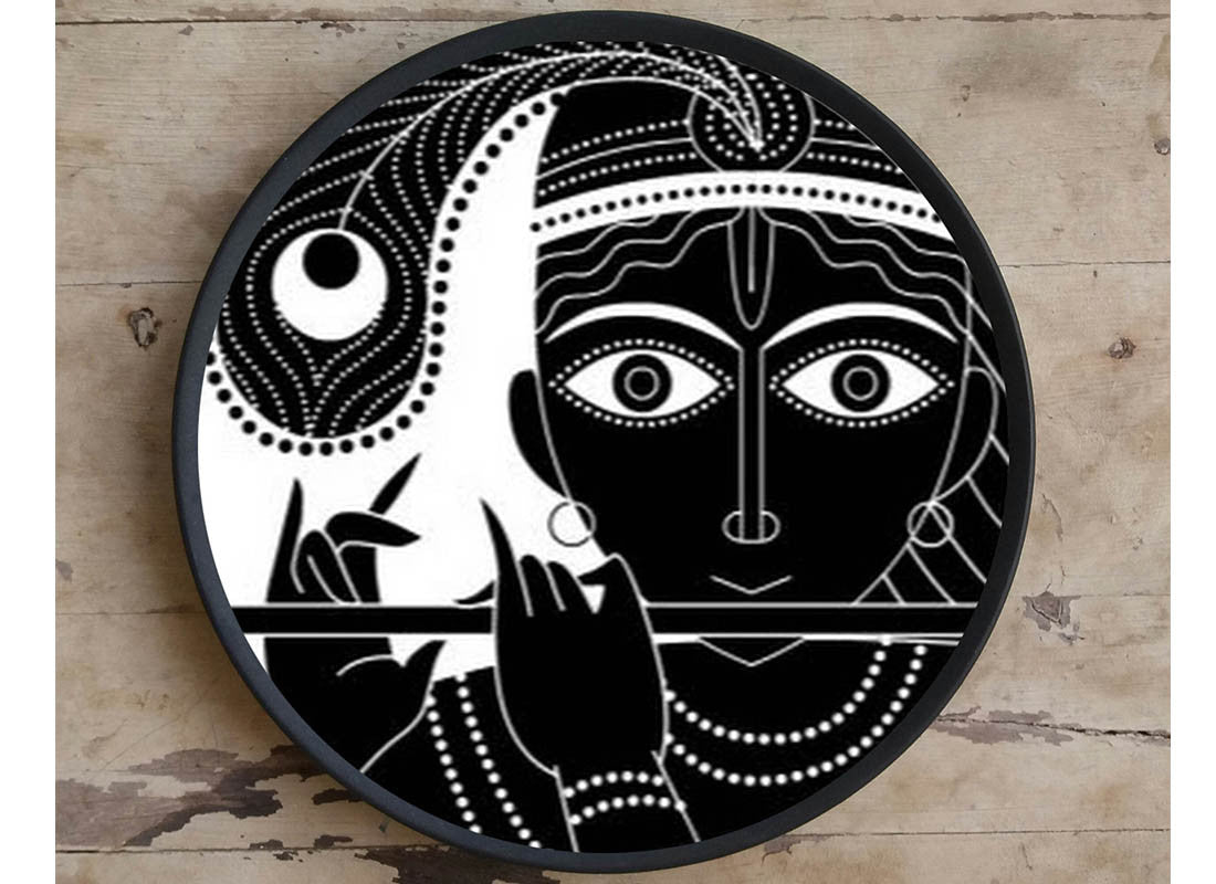 Krishna Design Ceramic Wall Hanging Plate