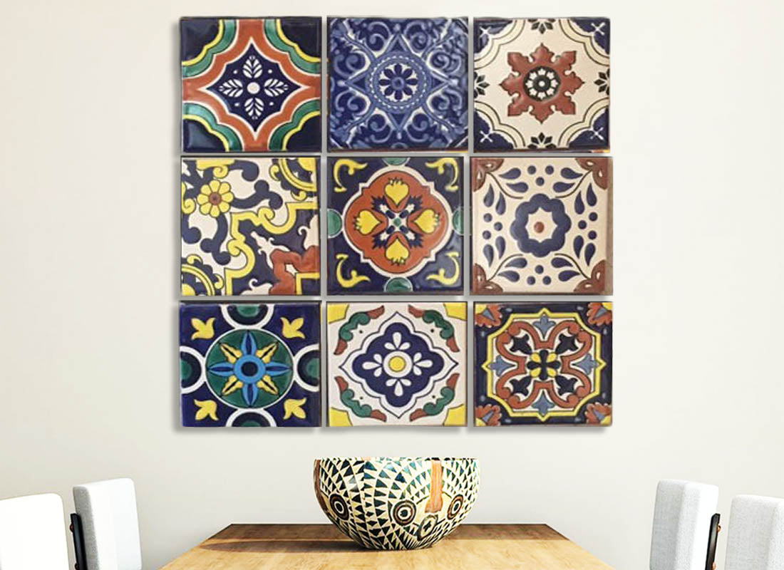 Colourful Handpainted Mexican Design Tile Set