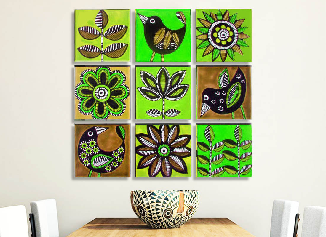 Exquisitely Handpainted Ceramic Wall Décor Tile Set