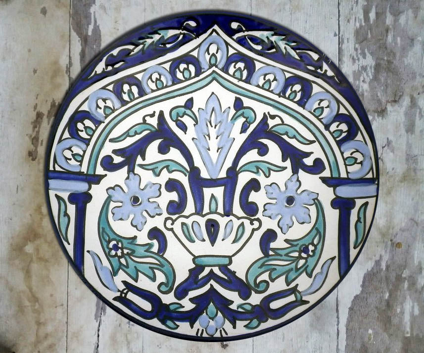 Hand-painted Floral Tunisian Ceramic Wall Plate