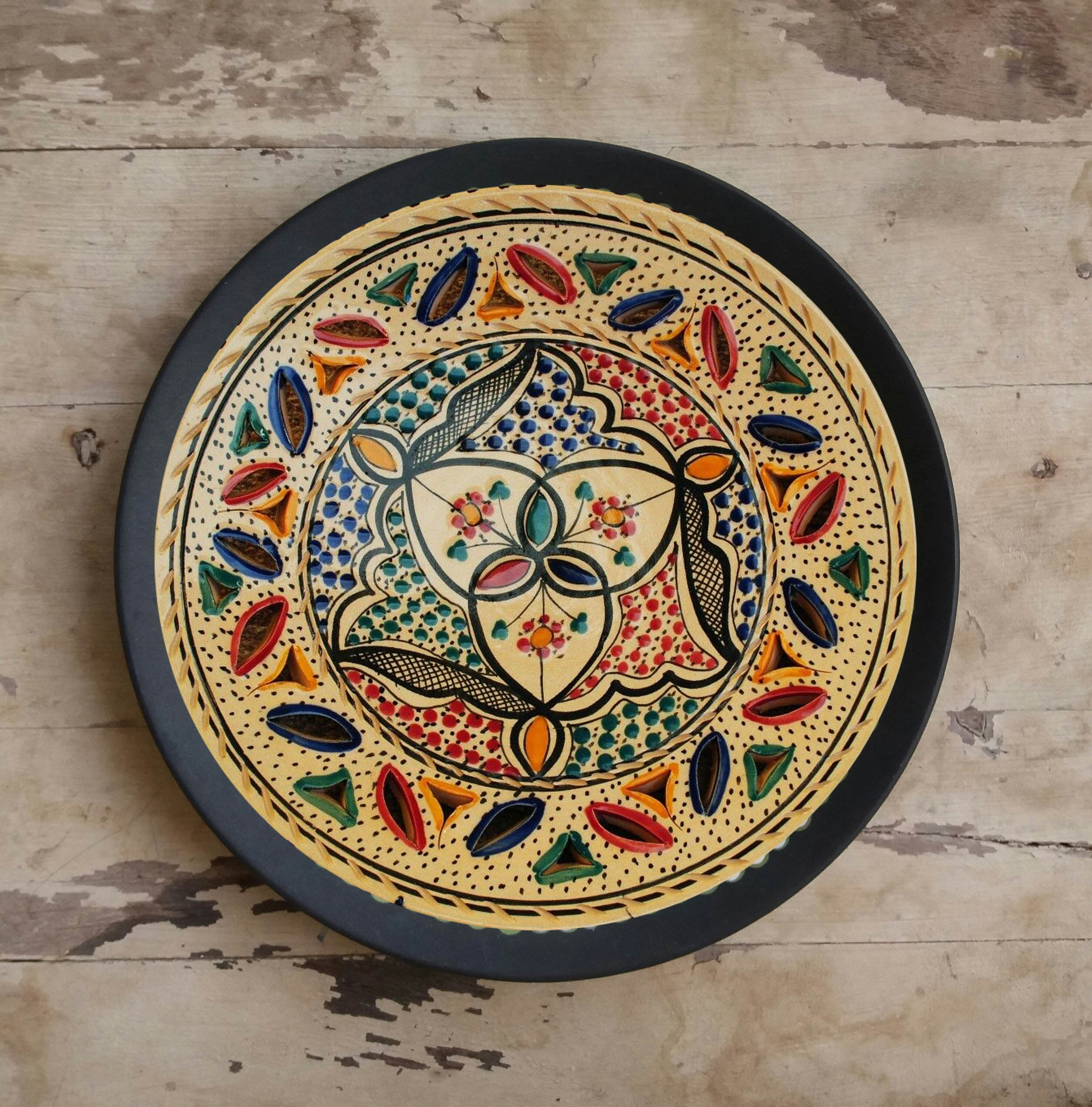 Abstract Art Turkish Ceramic Wall Decor Plate