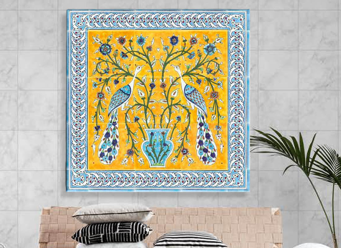 Colourful yellow n Blue Turkish Design Tile Set