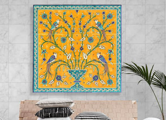 Yellow n Blue Handpainted Wall Tile Set
