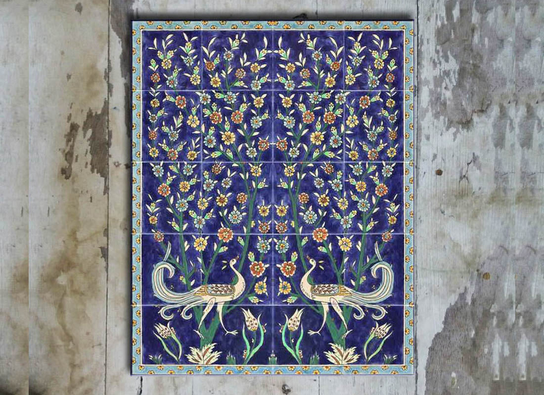 Beautifully Handpainted Ceramic Tile Set