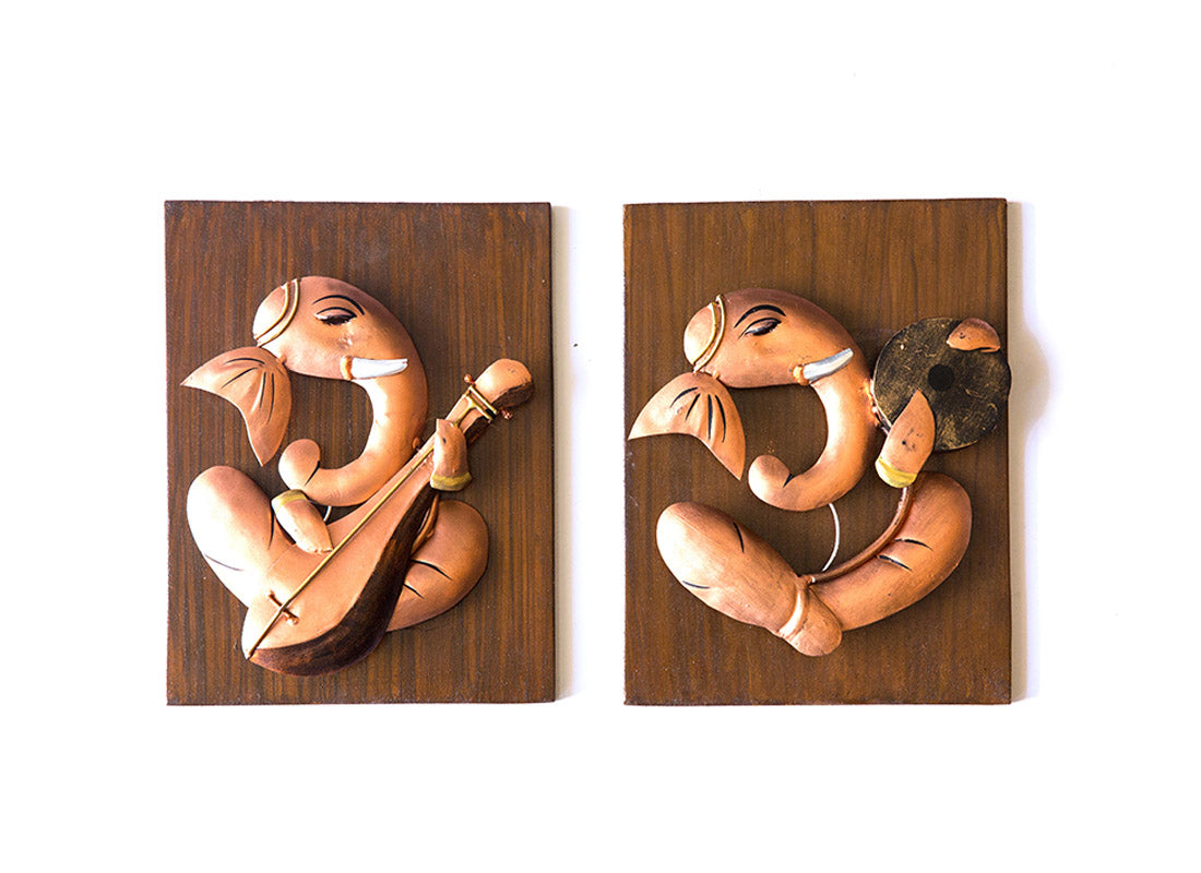 Ganesh Musician With Dafli and Sitar Wall Hanging