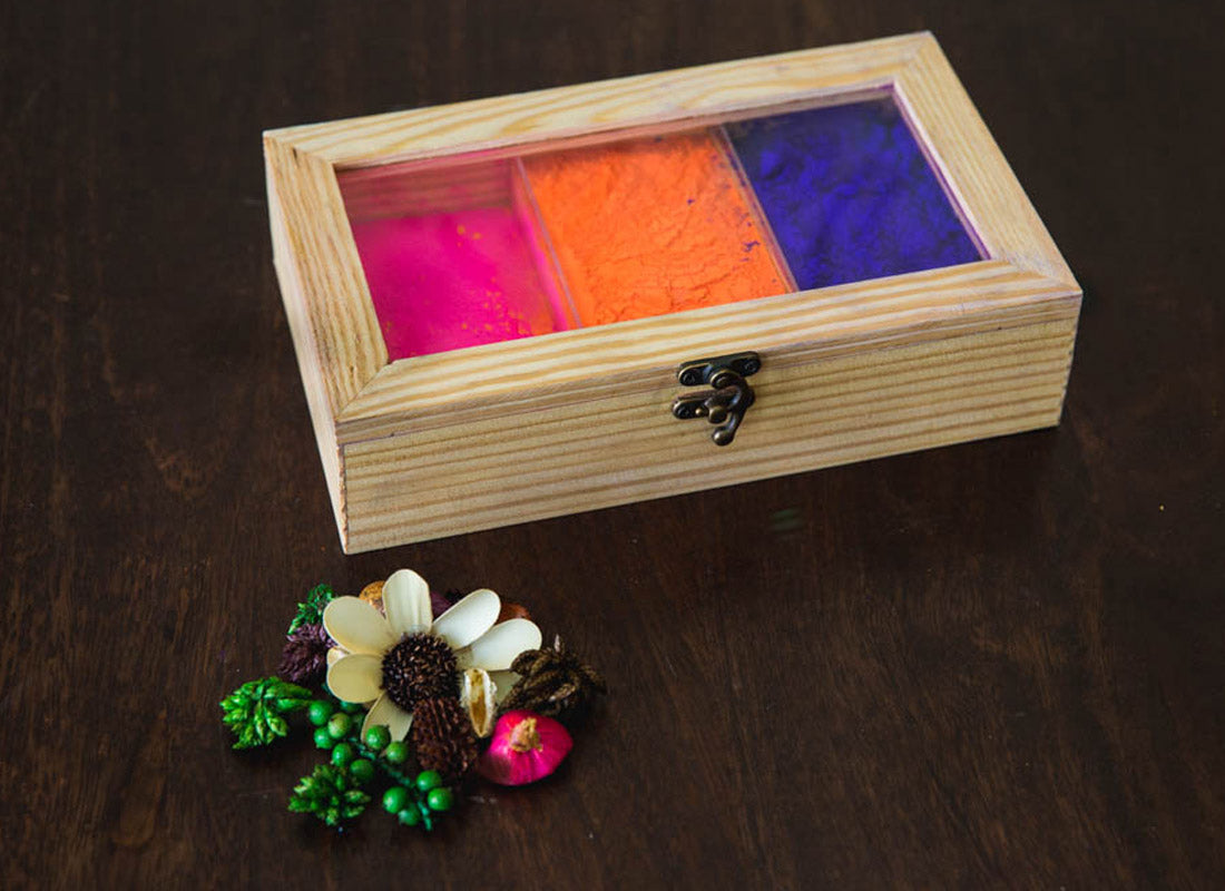 Handmade Pine Wooden Box With Partition