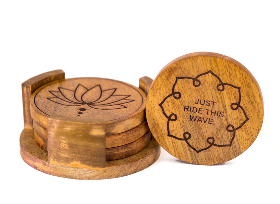 Coasters Round With Stand Set Of 4