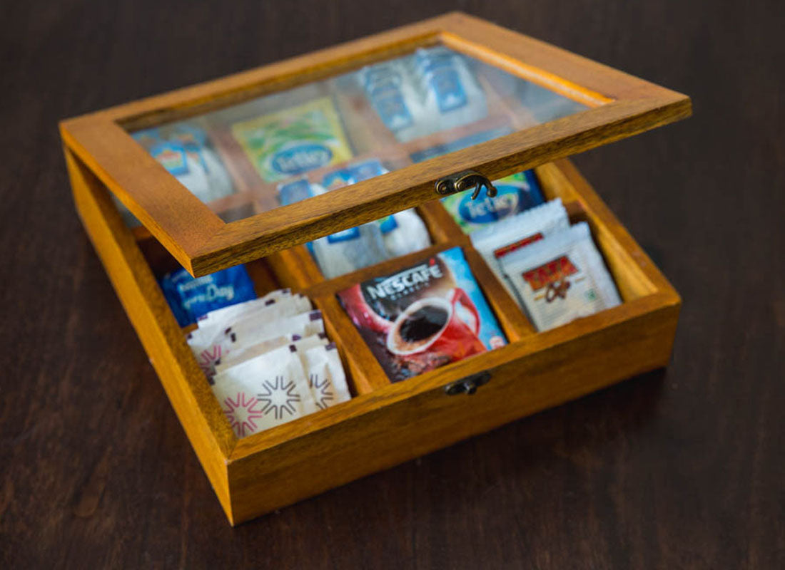 Carved Wooden Tea Box With Nine Compartments