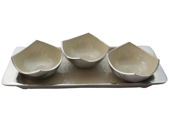 White Colored Bowl Tray Set