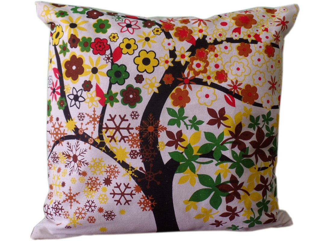 White cushion covers with multicolor print
