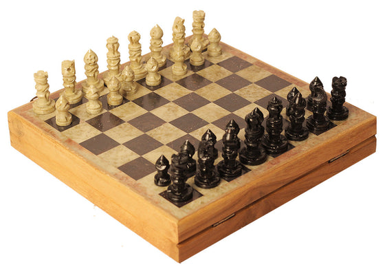 Wooden Box Marble Chess Kit