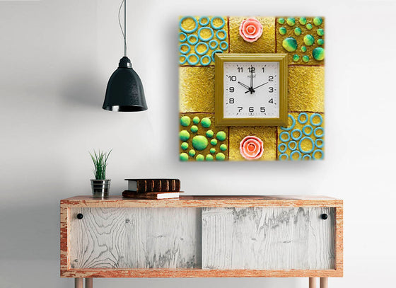 3D Art Textured Square Wooden Wall Clock