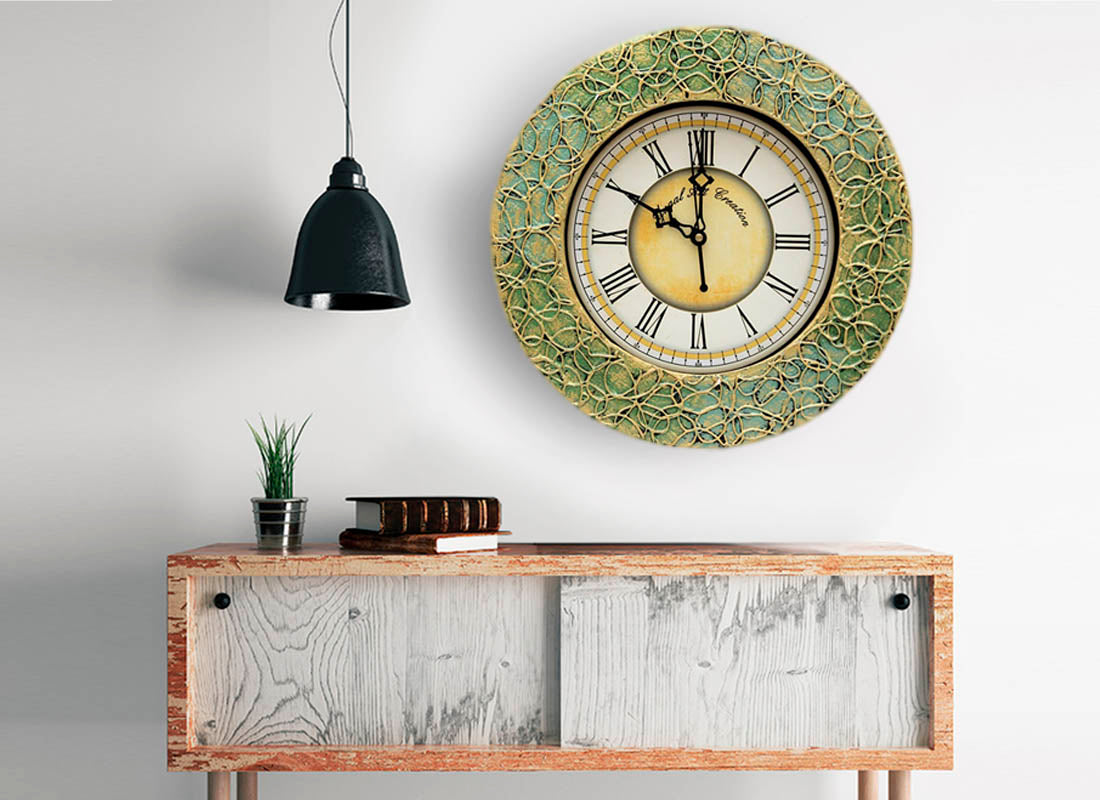 Designer Textured Wooden Round Wall Clock