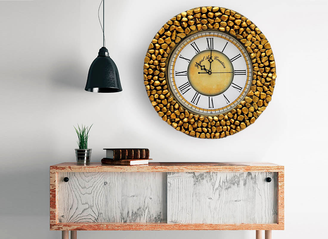 Golden Pebble Studded Wooden Wall Clock