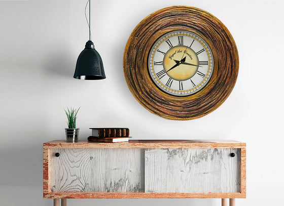 Carved Textured Wooden Wall Clock