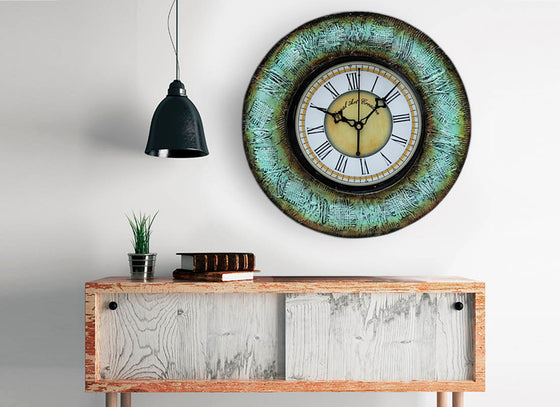 Coral Blue Textured Wooden Wall Clock