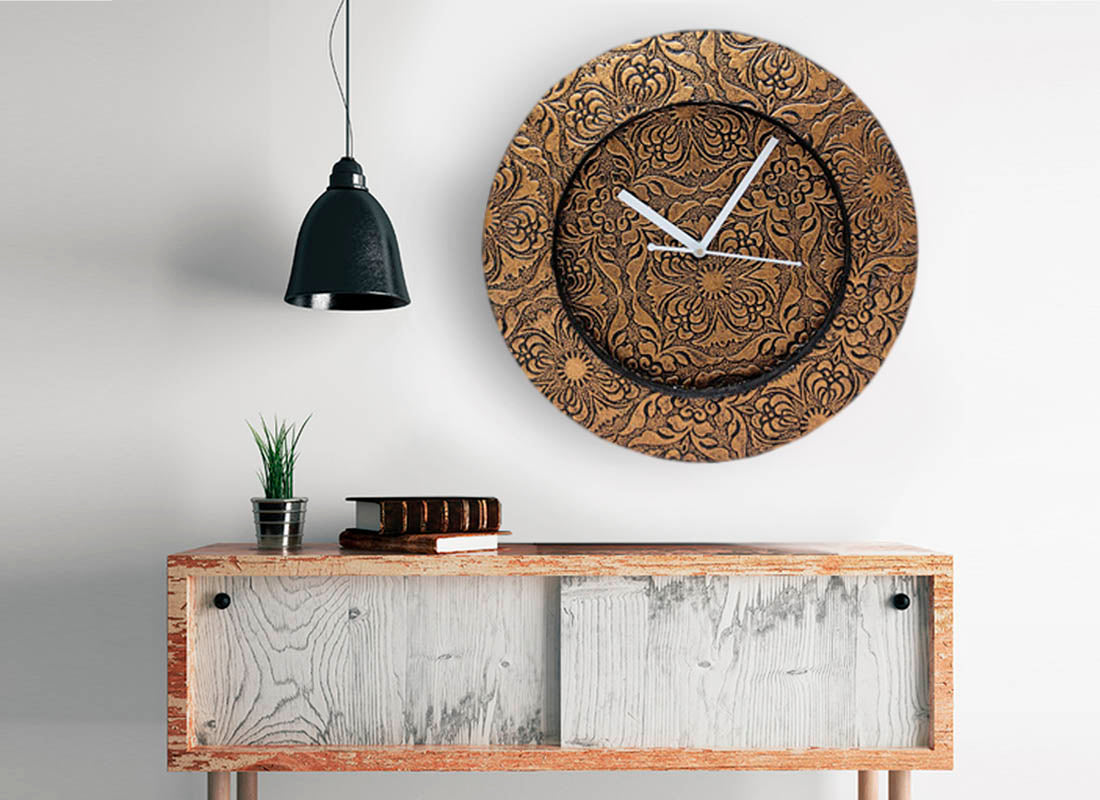 Exquisite Floral Carved Wooden Wall Clock