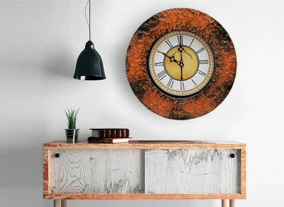 Shaded Textured Wooden Wall Clock