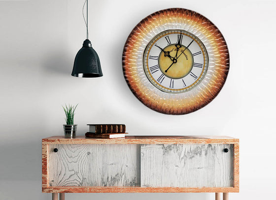 Metallic Shaded Wooden Round Wall Clock