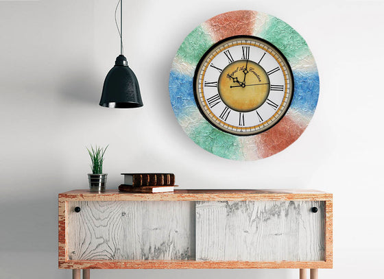 Vibrant Textured Wooden Wall Clock