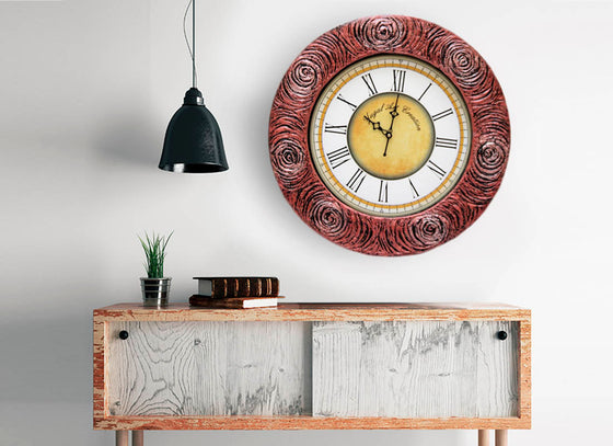 Rose Carved Wooden Wall Clock