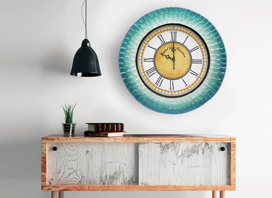 Elegant Blue Textured Wooden Wall Clock