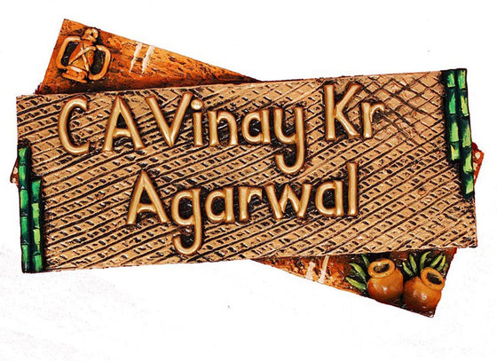 Handcrafted Wooden Name Plate for Door