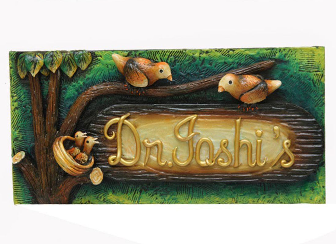 Hand-painted Textured Wooden Name Plate for Door