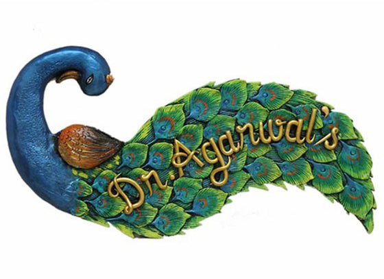 Ethnic Peacock Name Plate for Door