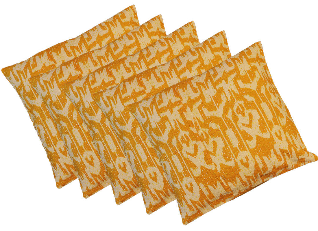 Yellow square cushion cover