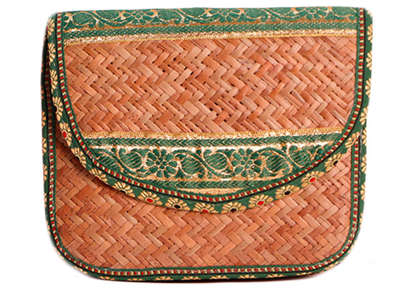 Green color texture cane sling handbag