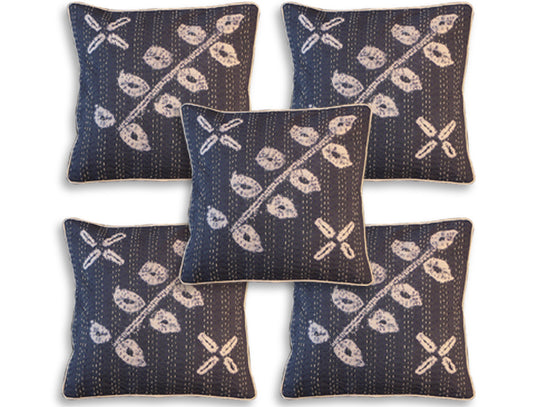 blue cotton material cushion covers