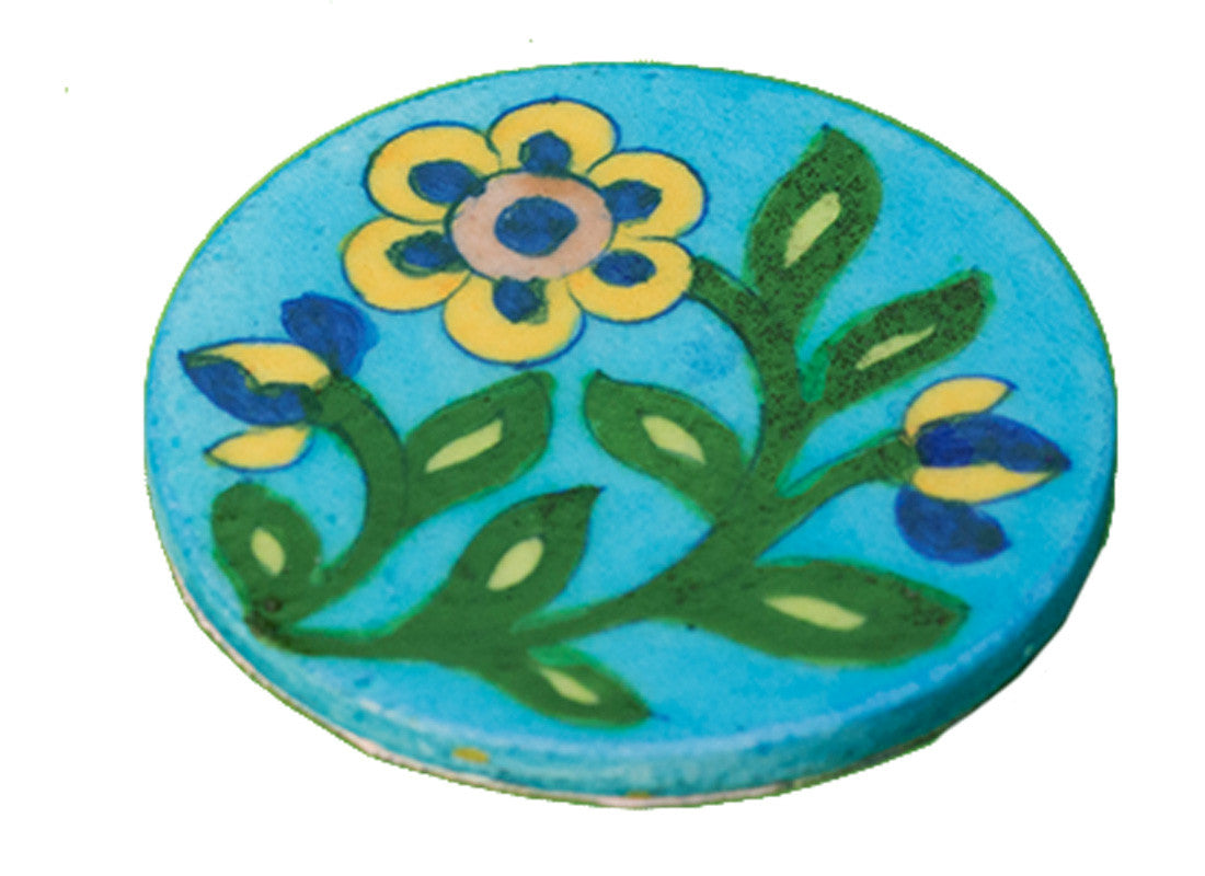 blue pottery art coster