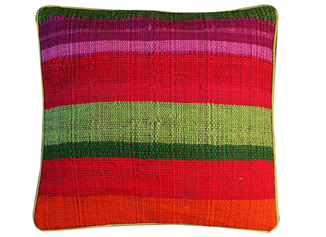Square strip design red cushion covers