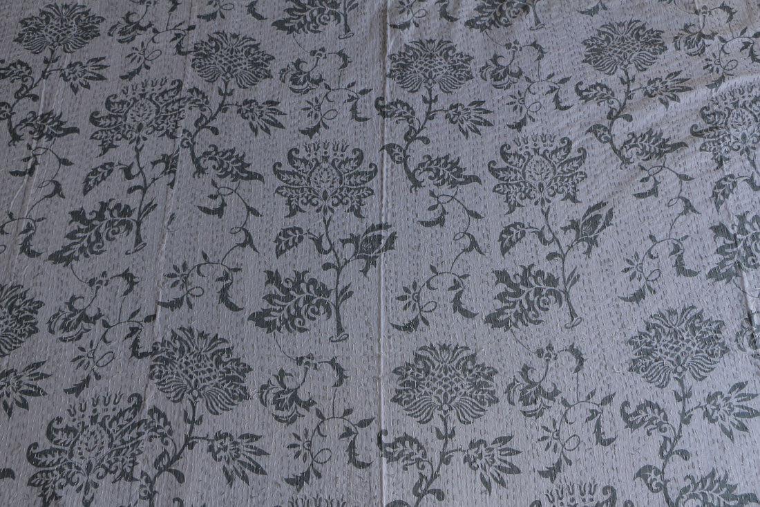 Ethnic handmade white Kantha bed sheet