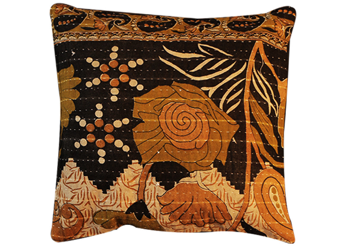 print kantha cushion covers black