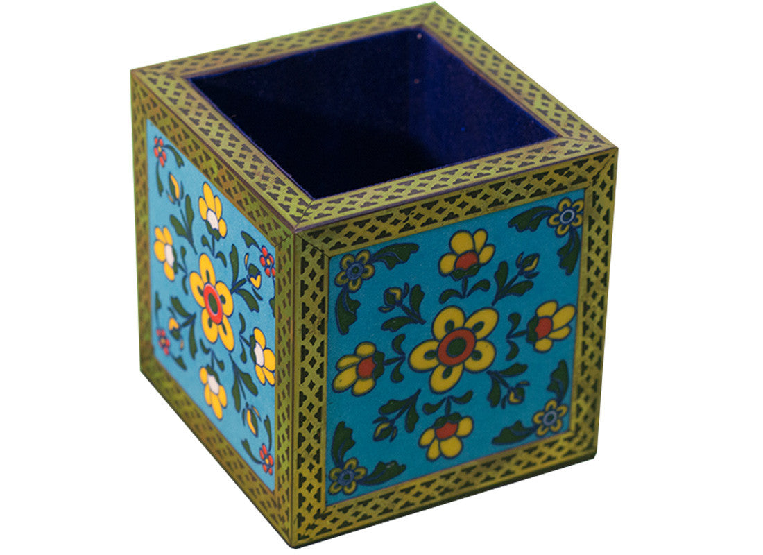 ethnic blue pottery utility holder