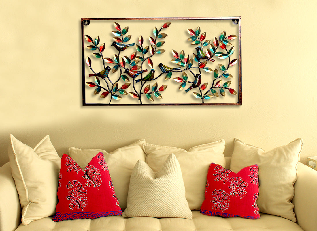 Colourful Metal Leaf Bird Wall Art Frame