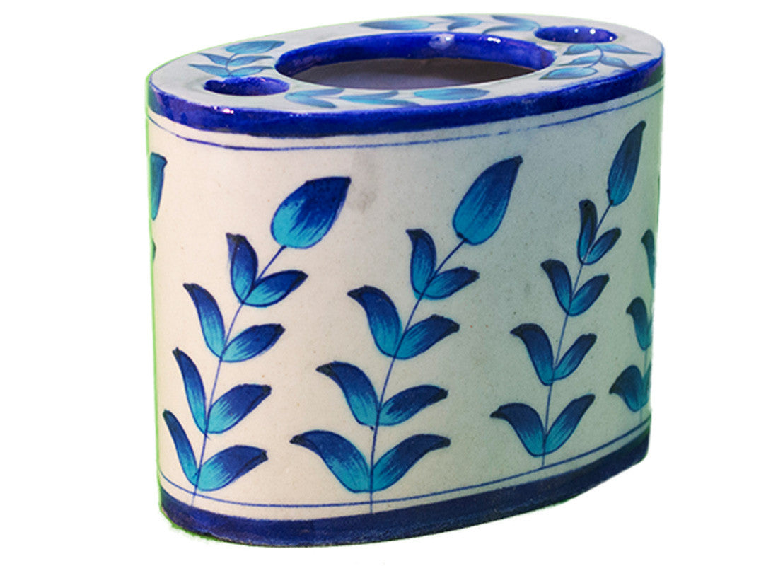 hand-painted in blue and white holder