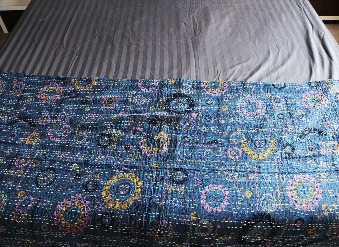 blue Kantha bed sheet