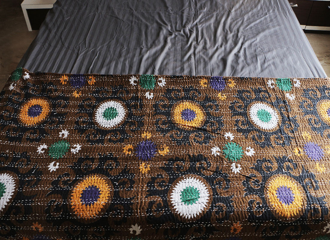 handcrafted Kantha bed sheet
