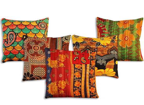 handcrafted bright colored kantha work cushion covers