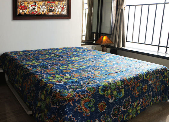 handcrafted designer blue bed sheet