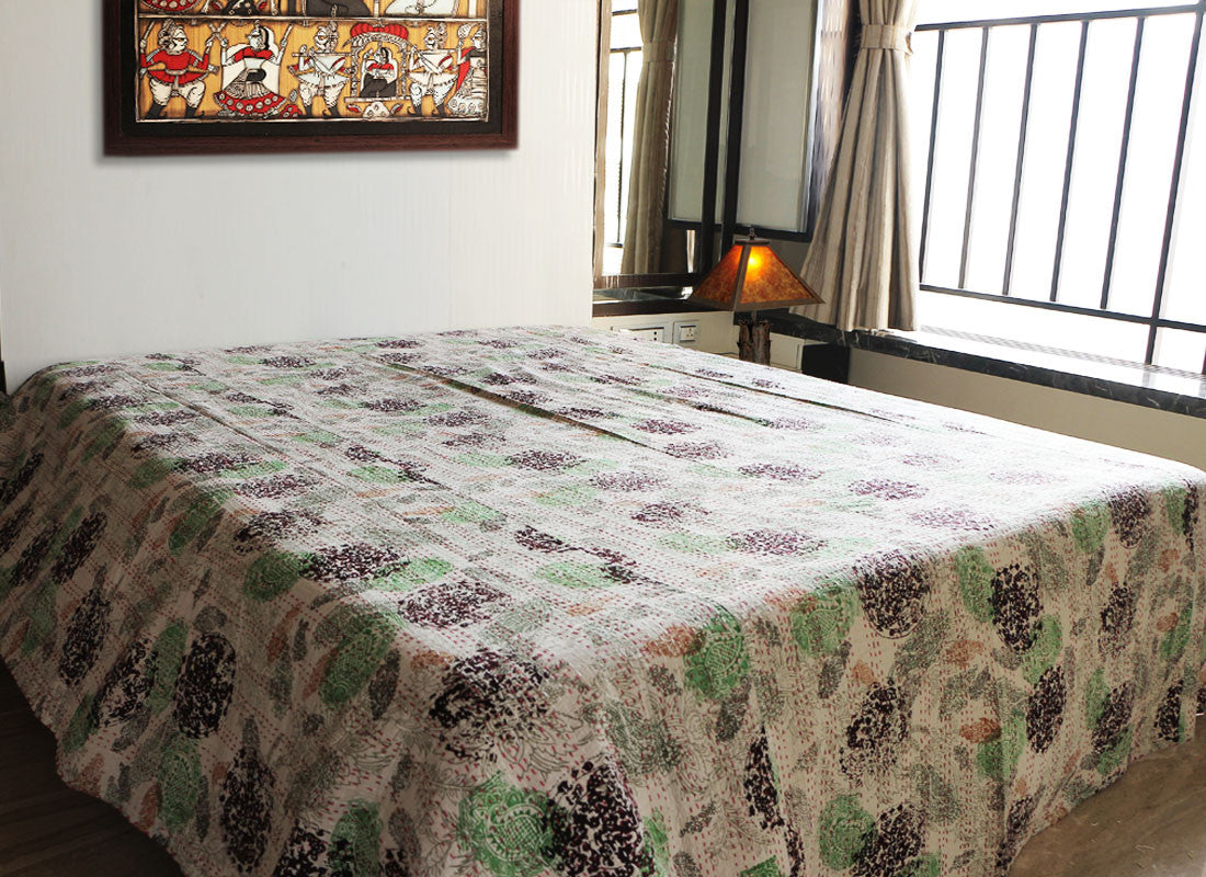 Ethnic Kantha handcrafted green blanket