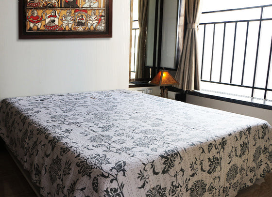 handmade white Kantha bed sheet