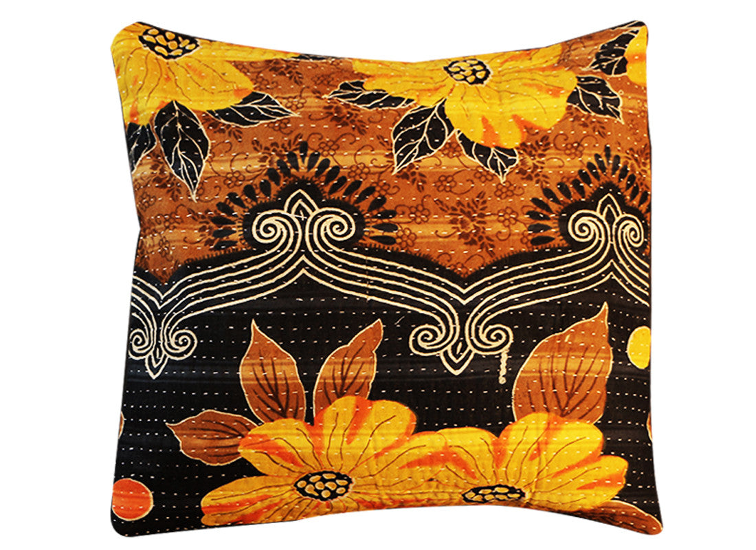 kantha cushion covers black