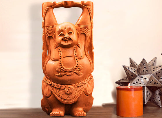 Wooden Hand-carved Laughing Buddha Showpiece