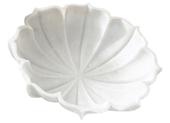 Marble decorative bowl in lotus shape