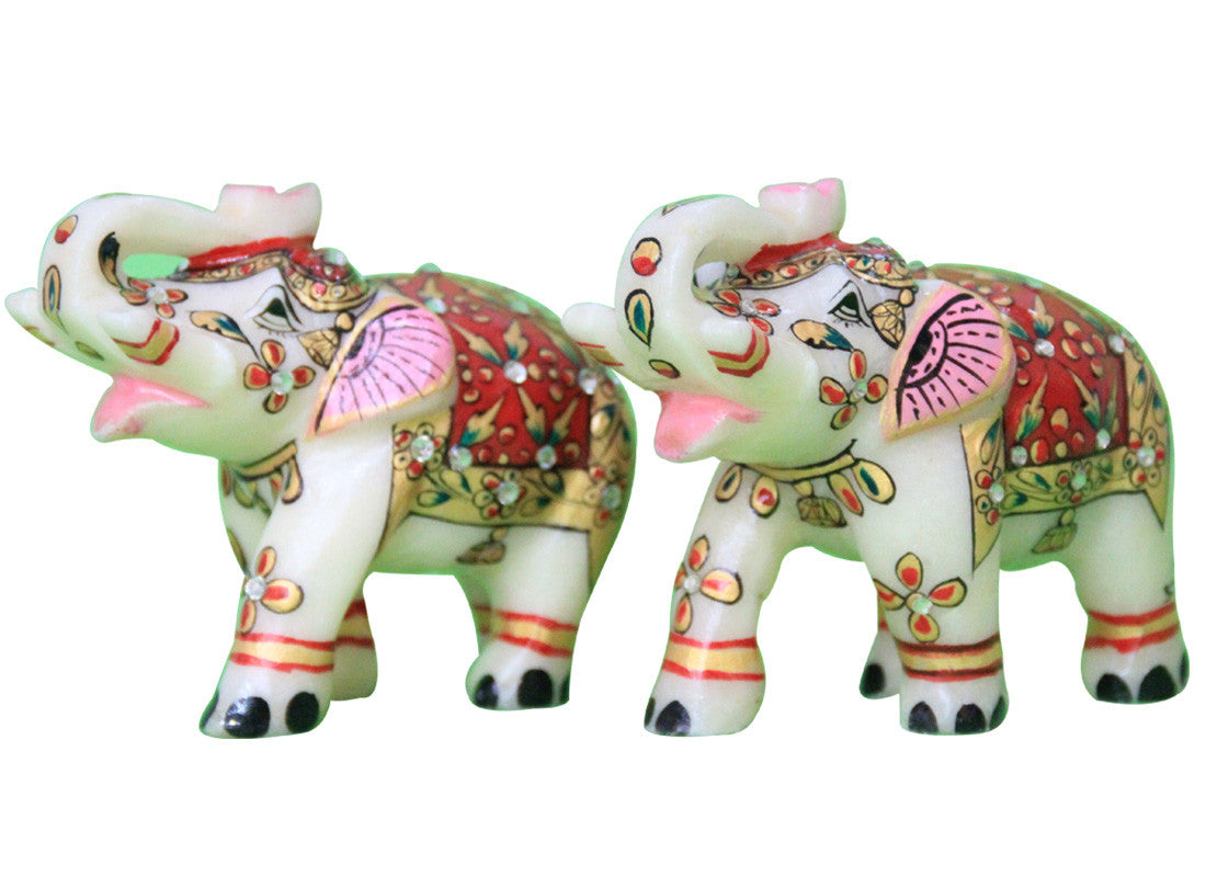 Painted marble elephant showpiece